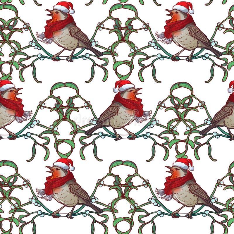 Reticolo senza giunte di natale Uccello di Robin in un cappello e in uno skarf rossi di natale Struttura decorativa dei ramoscell royalty illustrazione gratis