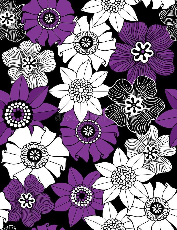 Reticolo senza giunte di ripetizione dei fiori Funky illustrazione vettoriale