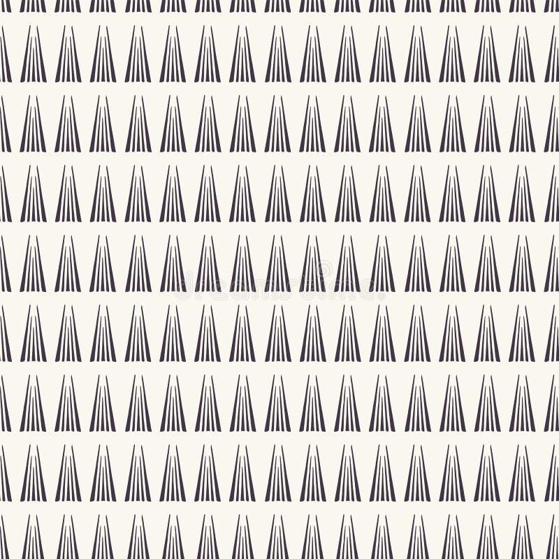 Reticolo senza giunte di vettore Bande disegnate a mano geometriche moderne del triangolo Ripetizione del fondo lineare semplice  illustrazione di stock