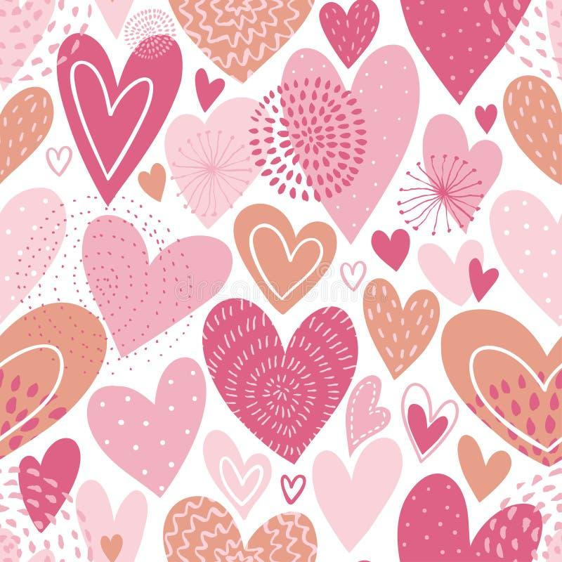 Reticolo senza giunte di vettore con i cuori Priorità bassa di amore per il giorno del `s del biglietto di S Progettazione romant illustrazione di stock