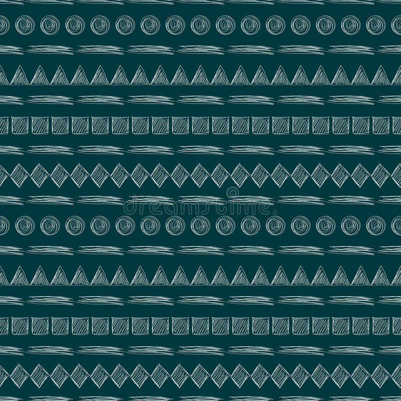 Reticolo senza giunte di vettore Fondo geometrico con i triangoli disegnati a mano, quadrati, rombo, linee, cerchi Disegno sempli royalty illustrazione gratis