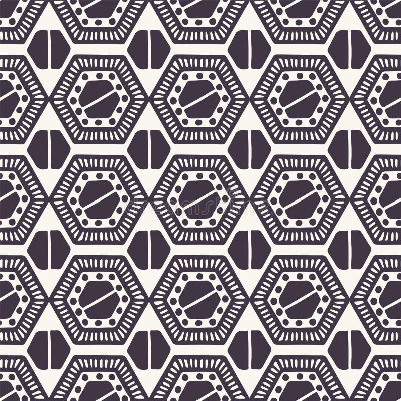 Reticolo senza giunte di vettore Forme esagonali della trapunta di Linocut Ripetizione del fondo geometrico delle mattonelle Tess illustrazione vettoriale