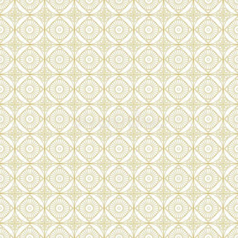 Reticolo senza giunte di vettore Il fondo geometrico simmetrico con oro quadra sul contesto bianco Ornamento di ripetizione decor illustrazione vettoriale