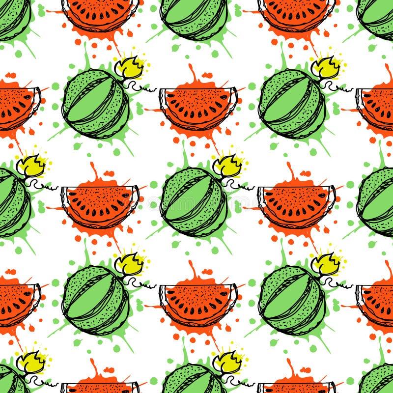 Reticolo senza giunte di vettore Illustrazione disegnata a mano di frutti dell'anguria con spruzzata e goccia, sui precedenti bia illustrazione vettoriale