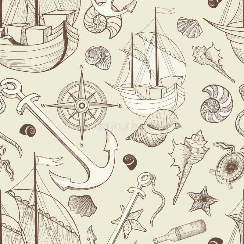 Reticolo senza giunte di vita marina Nave di navigazione, conchiglia, ancora, co royalty illustrazione gratis
