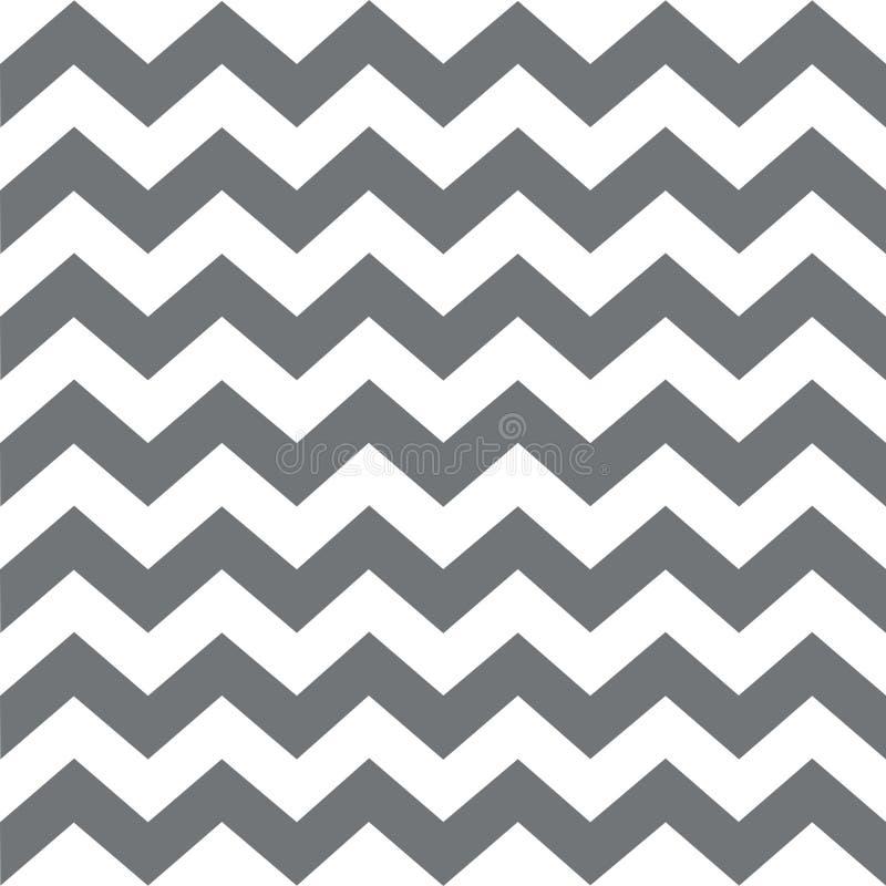 Reticolo senza giunte di zigzag Ornamento geometrico tradizionale classico grandi bande grige su un fondo bianco illustrazione di stock
