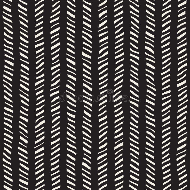 Reticolo senza giunte disegnato a mano Fondo geometrico astratto della piastrellatura in bianco e nero Linea alla moda grata di s illustrazione di stock