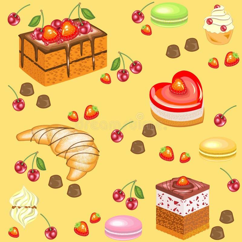 Reticolo senza giunte Dolci festivi, caramelle gommosa e molle, croissant, caramelle della fragola, ciliege Adatto a carta da par royalty illustrazione gratis