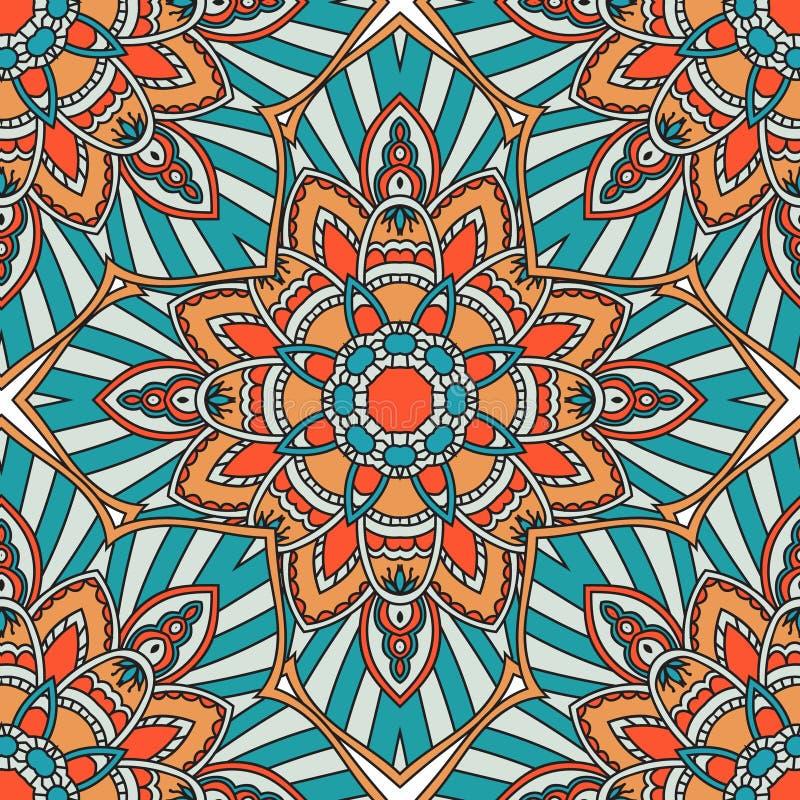 Reticolo senza giunte Elementi decorativi dell'annata Fondo disegnato a mano Islam, arabo, indiano, motivi dell'ottomano illustrazione vettoriale