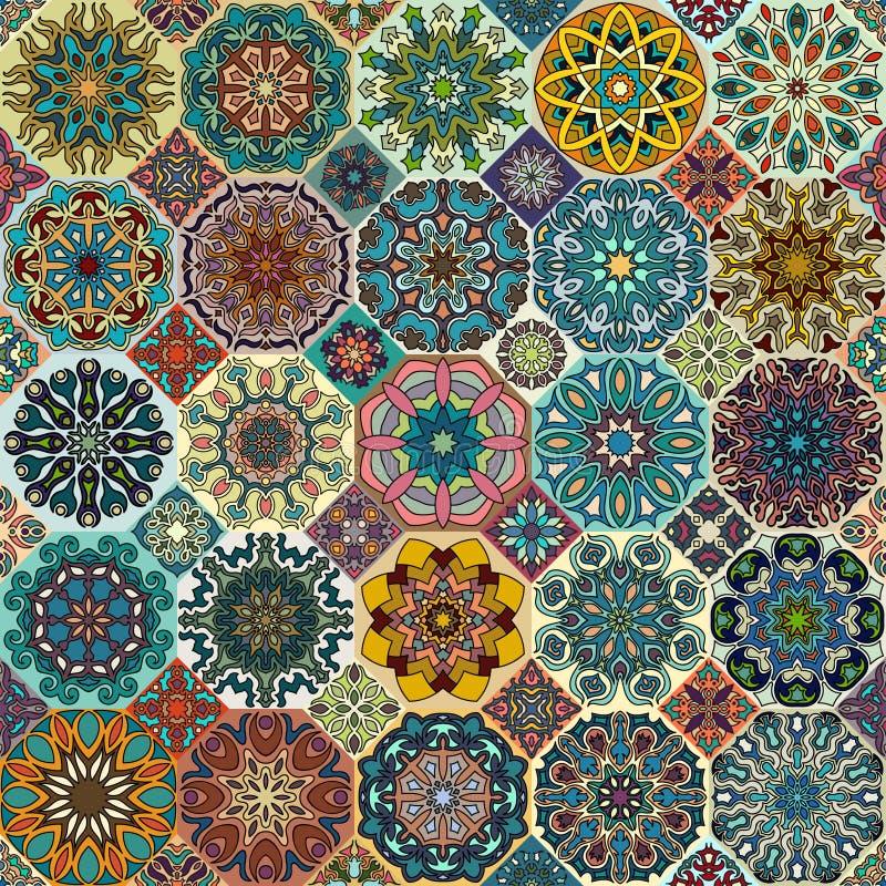 Reticolo senza giunte Elementi decorativi dell'annata Fondo disegnato a mano Islam, arabo, indiano, motivi dell'ottomano Perfezio royalty illustrazione gratis