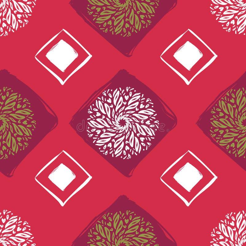 Reticolo senza giunte etnico Estratto Orientale Mandala Background per la carta da parati, tessuto, tessuto, carta, fondo del sit illustrazione vettoriale
