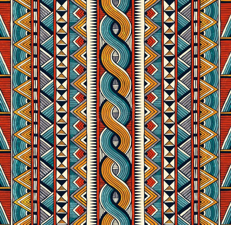 Reticolo senza giunte etnico Fondo geometrico astratto disegnato a mano illustrazione vettoriale