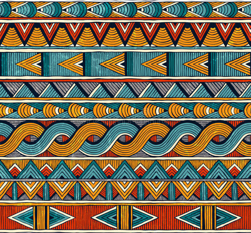 Reticolo senza giunte etnico Fondo geometrico astratto disegnato a mano royalty illustrazione gratis
