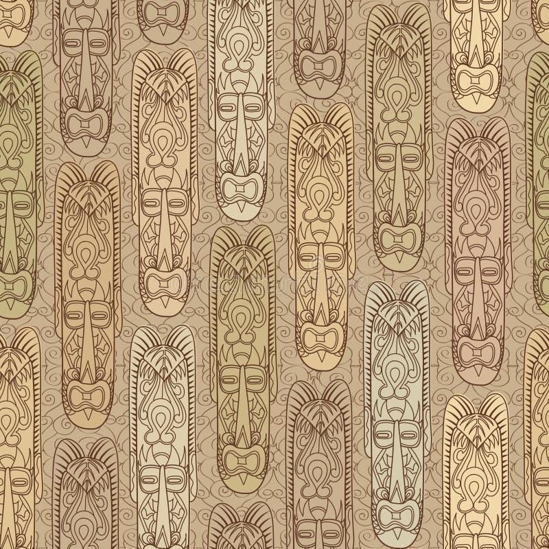 Reticolo senza giunte etnico La maschera africana ha piastrellato il fondo illustrazione vettoriale