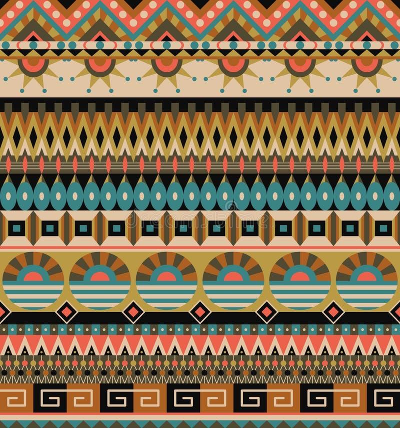Reticolo senza giunte etnico Ornamento tribale geometrico Stile piega Priorità bassa astratta variopinta royalty illustrazione gratis