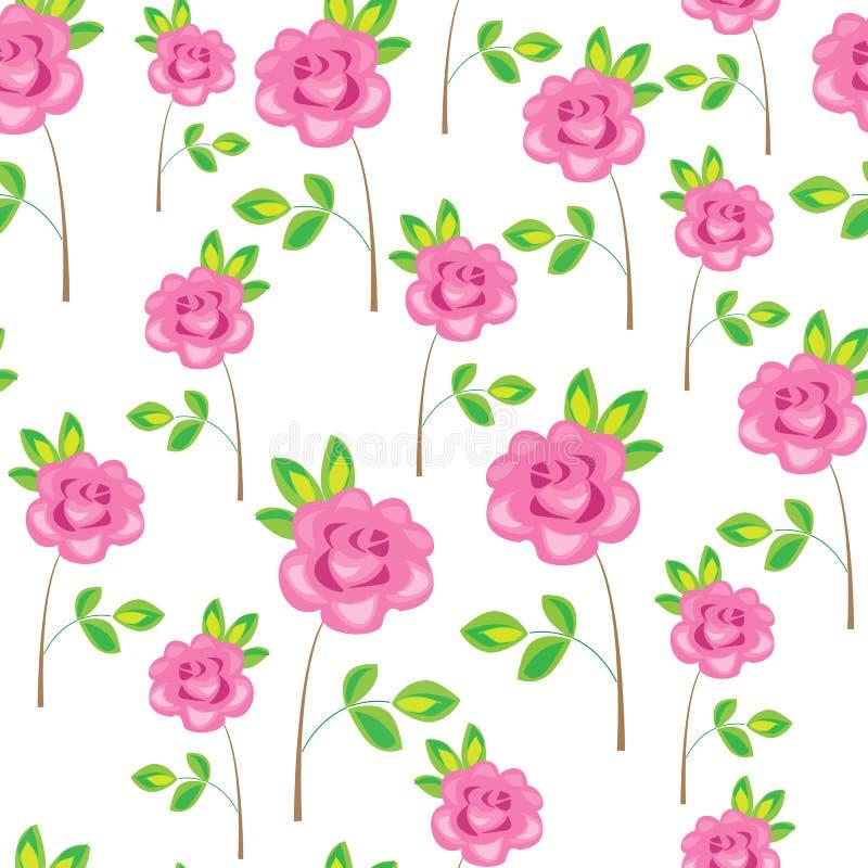 Reticolo senza giunte Fiori rosa, rose r Crea un umore festivo illustrazione vettoriale