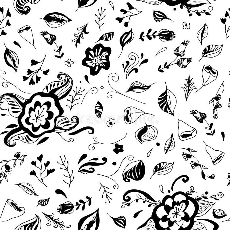 Reticolo senza giunte floreale con i fiori disegnati a mano Può essere usato per la carta da parati, i tessuti, avvolgersi, carta illustrazione di stock