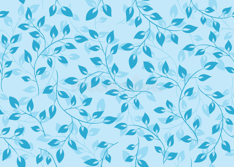Reticolo senza giunte floreale con i fogli blu illustrazione vettoriale