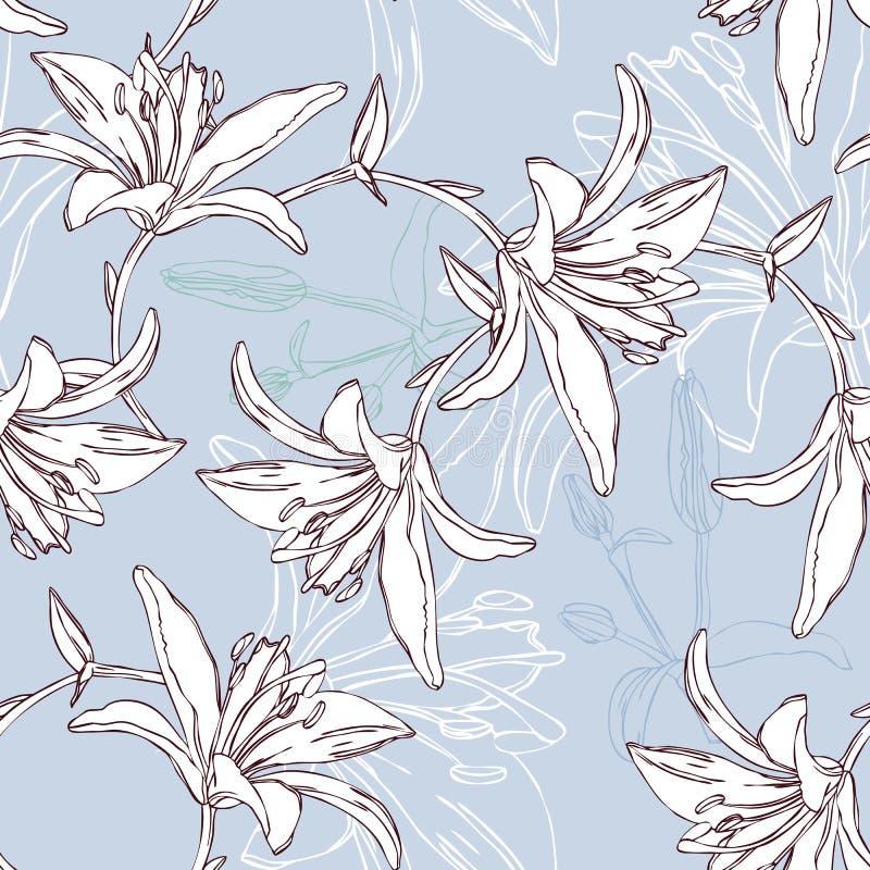 Reticolo senza giunte floreale con il giglio royalty illustrazione gratis