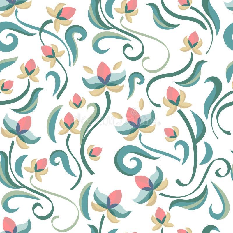 Reticolo senza giunte floreale decorativo Fiori di colore pastello di vettore illustrazione vettoriale
