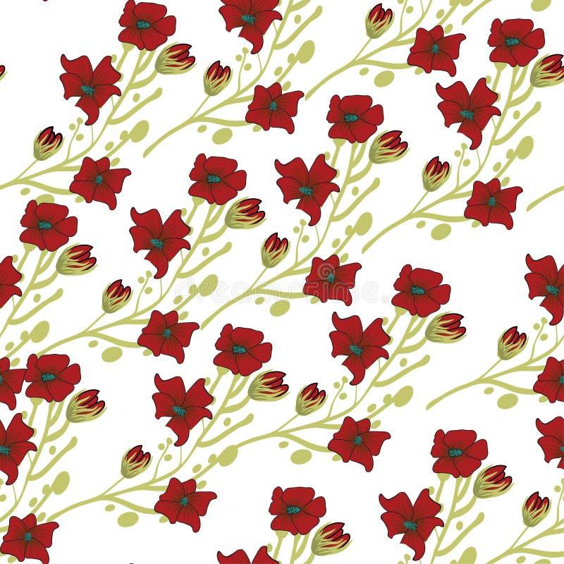 Reticolo senza giunte floreale Fiori astratti disegnati a mano di pendenza con la decorazione di scarabocchio Progettazione artis illustrazione vettoriale