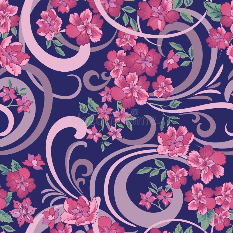 Reticolo senza giunte floreale Fiori ornamentali astratti illustrazione di stock