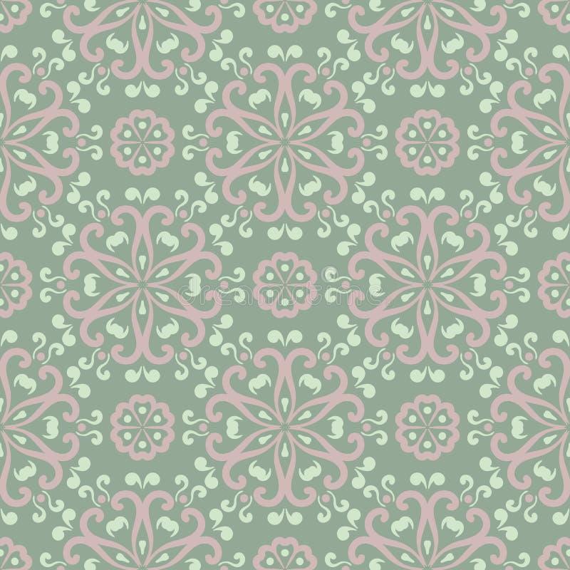 Reticolo senza giunte floreale Fondo di verde verde oliva con pallido - elementi rosa del fiore illustrazione di stock