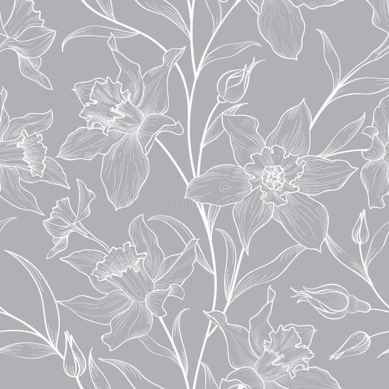 Reticolo senza giunte floreale Fondo inciso scarabocchio del fiore illustrazione di stock