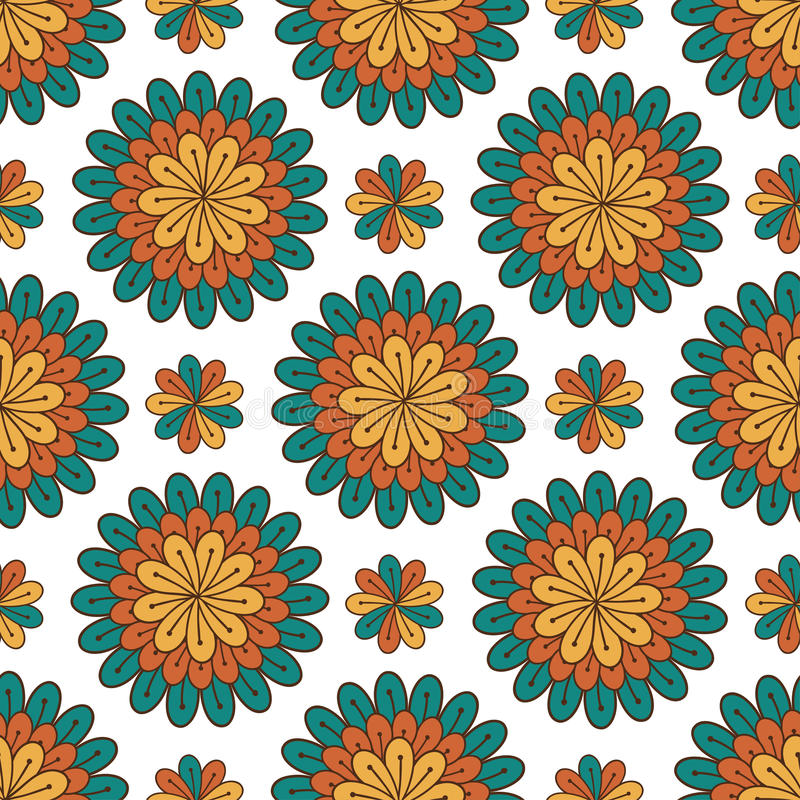Reticolo senza giunte floreale Fondo moderno di vettore con i fiori Stampa del tessuto o progettazione di imballaggio illustrazione vettoriale