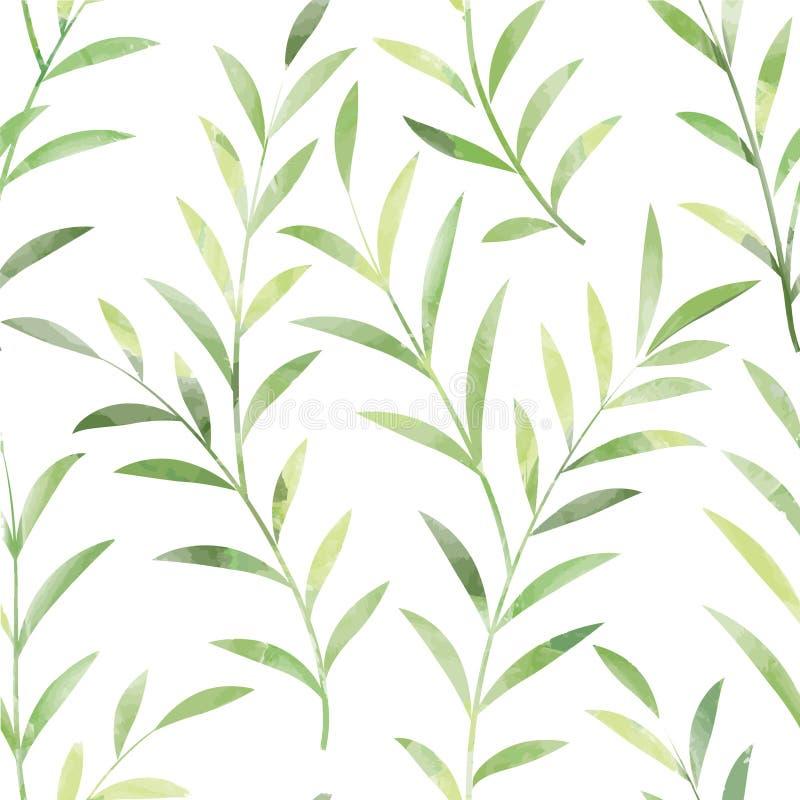 Reticolo senza giunte floreale Lascia la priorità bassa Ornamento della natura illustrazione vettoriale