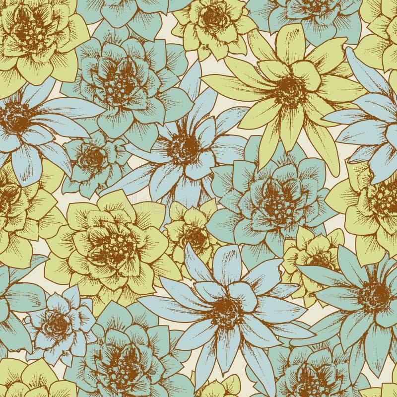 Reticolo senza giunte floreale nel retro stile illustrazione di stock