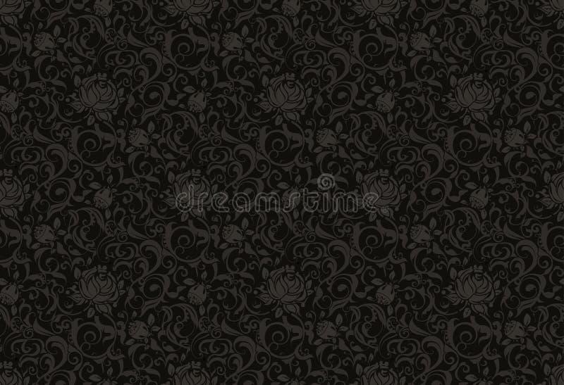 Reticolo senza giunte floreale nero illustrazione vettoriale