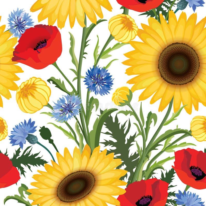 Reticolo senza giunte floreale Papavero del fiore, girasole, wea del fiordaliso illustrazione vettoriale