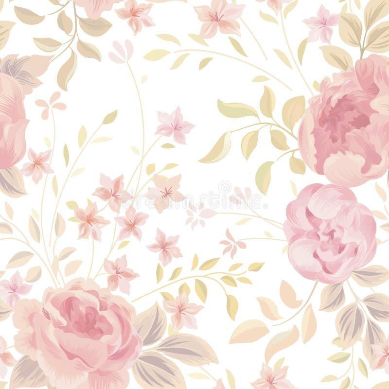 Reticolo senza giunte floreale Priorità bassa del fiore Florida del giardino ornamentale illustrazione di stock
