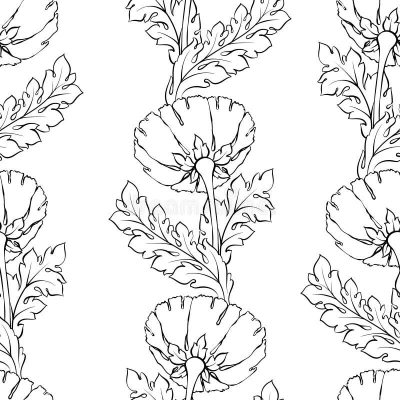 Reticolo senza giunte floreale Priorità bassa del fiore Il Flourish ha piastrellato la carta da parati e le foglie stilizzate di  illustrazione vettoriale