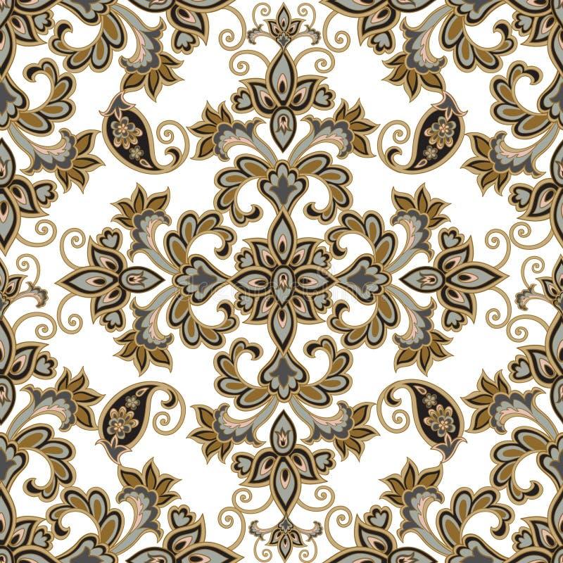 Reticolo senza giunte floreale Priorità bassa del fiore Ornamento floreale delle mattonelle royalty illustrazione gratis