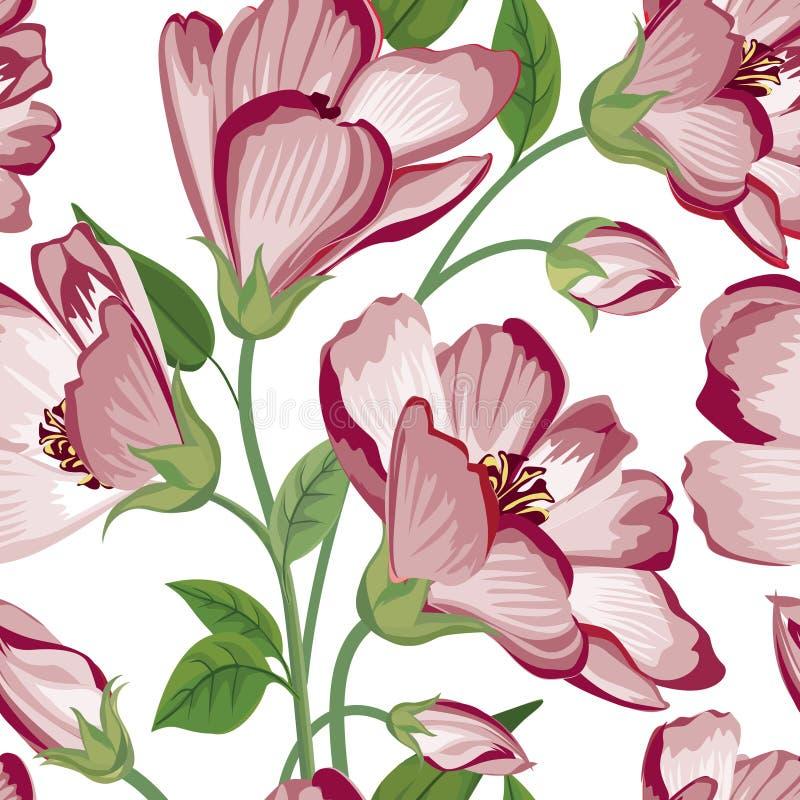 Reticolo senza giunte floreale Priorità bassa del fiore Struttura di Flourish con i fiori illustrazione di stock
