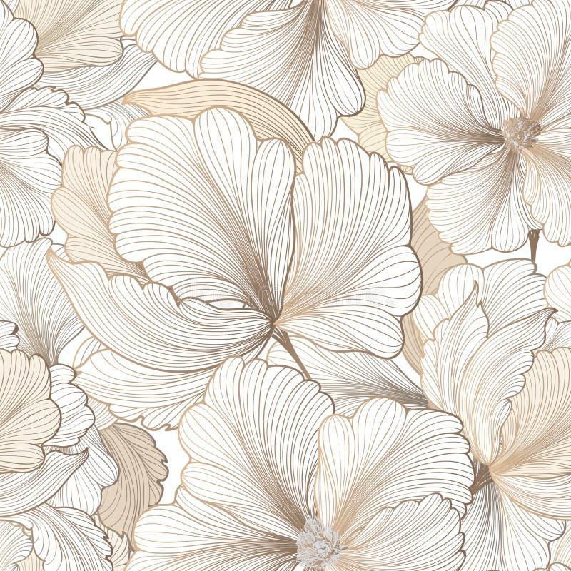 Reticolo senza giunte floreale Priorità bassa del fiore Testo del giardino di Flourish illustrazione vettoriale