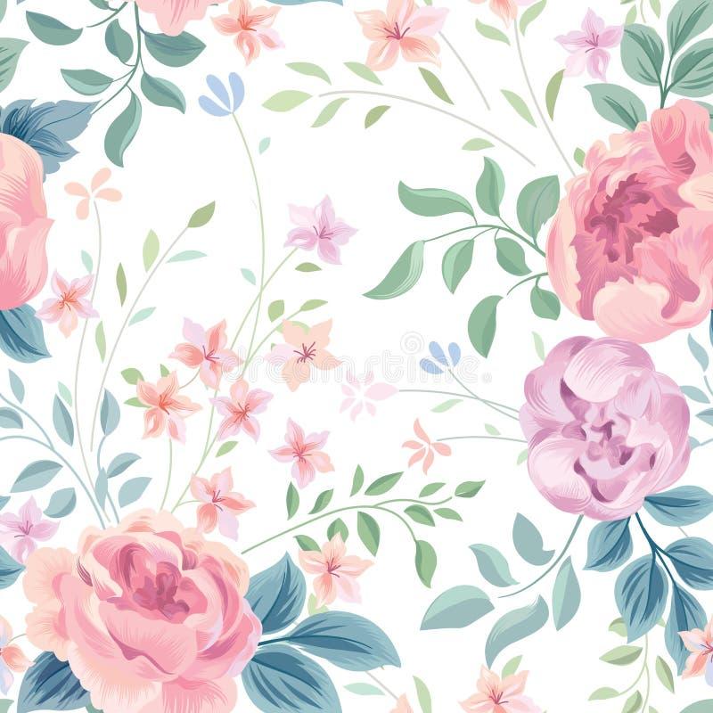 Reticolo senza giunte floreale Rosa e foglie del fiore del giardino su bianco illustrazione di stock
