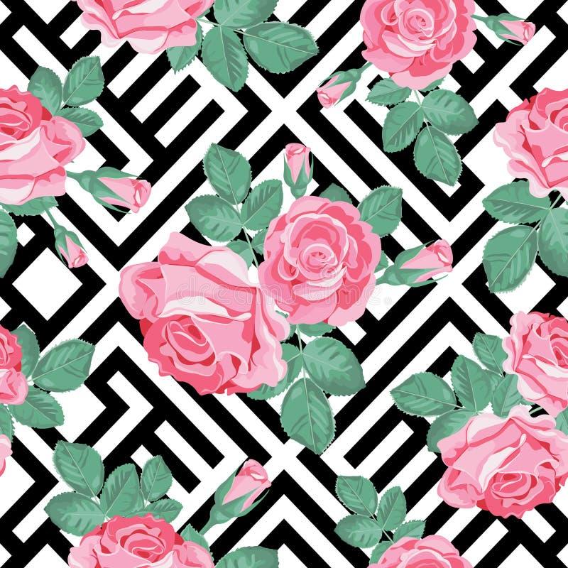 Reticolo senza giunte floreale Rose rosa con le foglie su fondo geometrico in bianco e nero Illustrazione di vettore royalty illustrazione gratis