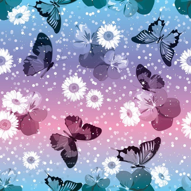 Reticolo senza giunte floreale Viole del pensiero con le camomille, buttrflies sul fondo rosa e blu della scintilla Illustrazione illustrazione di stock