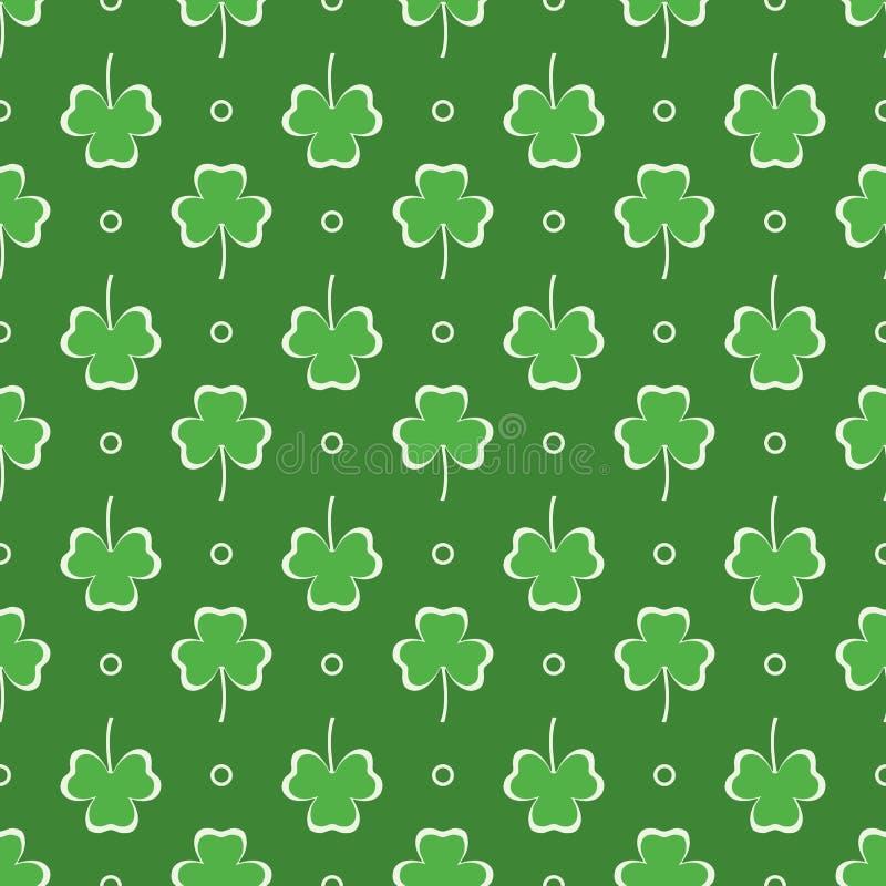 Reticolo senza giunte Fogli del trifoglio bianco St Patrick \ 'giorno di s royalty illustrazione gratis