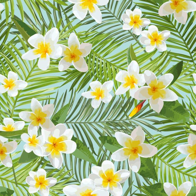 Reticolo senza giunte Fondo tropicale delle foglie di palma Fiori tropicali illustrazione di stock