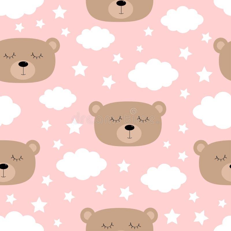 Reticolo senza giunte Fronte dell'orso di sonno Nuvola nel cielo Carattere divertente del bambino di kawaii sveglio del fumetto C illustrazione vettoriale