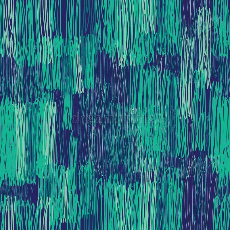 Reticolo senza giunte geometrico astratto Disegno a matita floreale verde illustrazione di stock