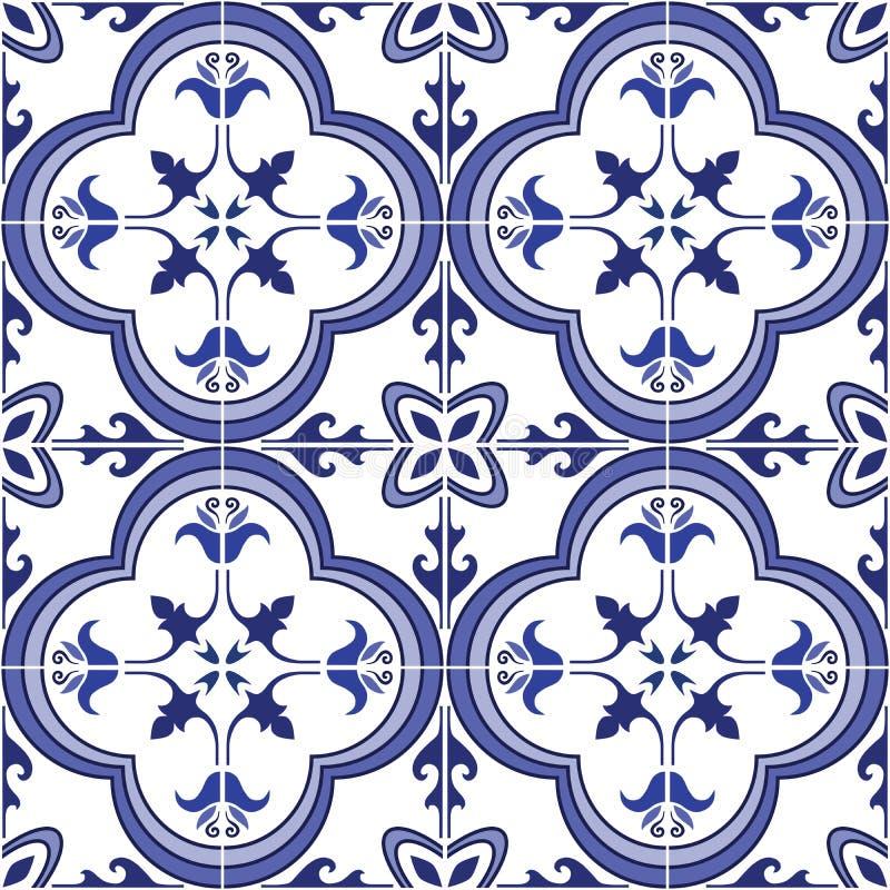 Reticolo senza giunte Il Portoghese decorato tradizionale piastrella i azulejos Illustrazione di vettore illustrazione di stock