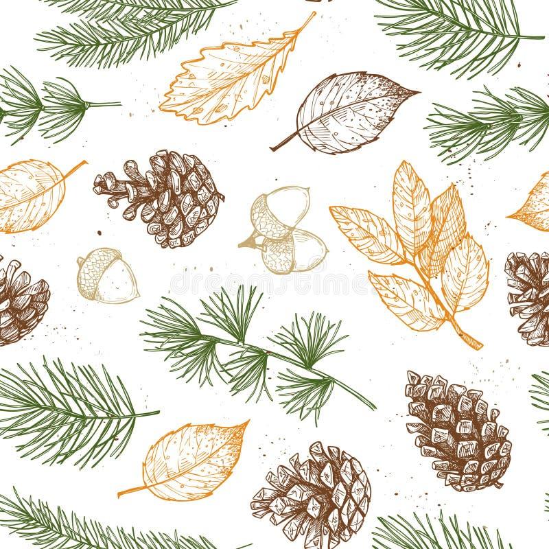 Reticolo senza giunte Illustrazioni disegnate a mano di vettore - Forest Autum illustrazione vettoriale