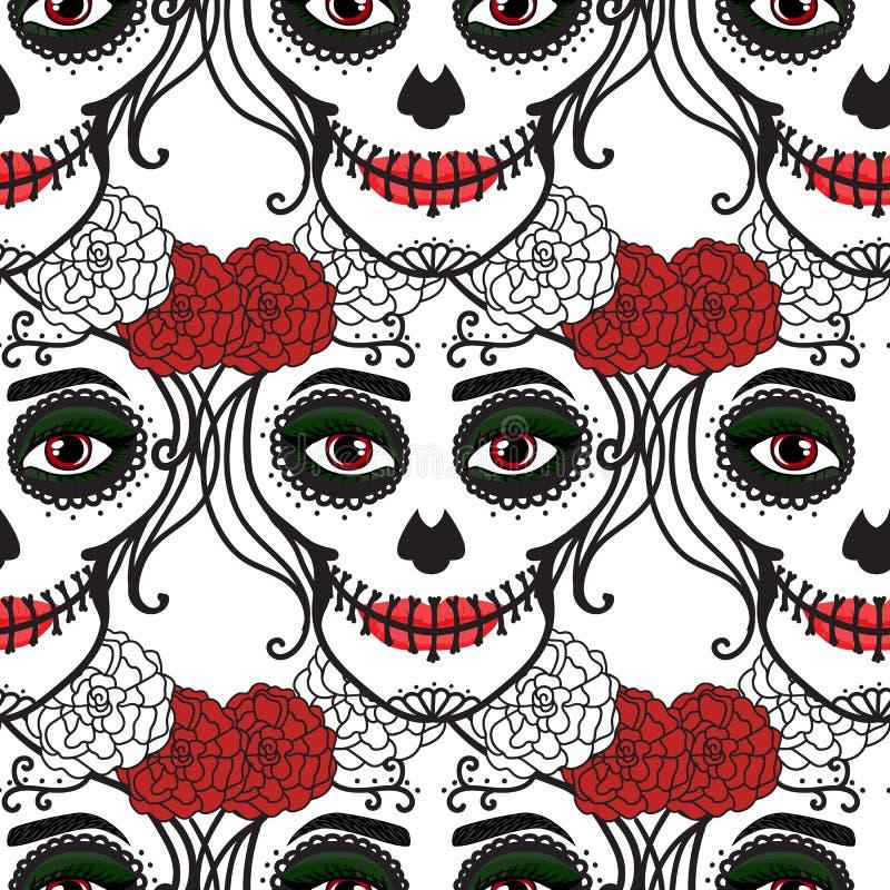 Reticolo senza giunte La donna di Catrina con compone del cranio dello zucchero Dia De Los Muertos Giorno messicano dei morti Vet illustrazione di stock