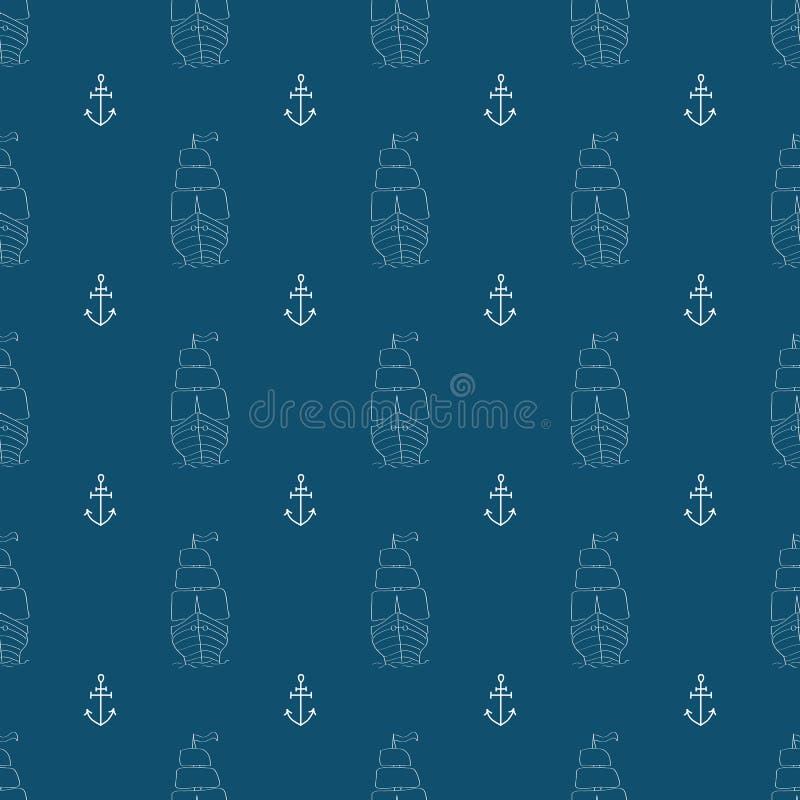 Reticolo senza giunte marino Scarabocchio, schizzo, scarabocchi Illustrazione di vettore illustrazione di stock