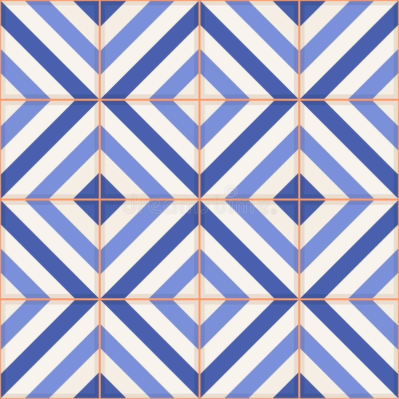 Reticolo senza giunte Mattonelle marocchine, ornamenti delle bande blu royalty illustrazione gratis